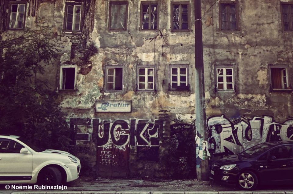 This photo was taken in Sarajevo and features the typical mix of modernity, heritage and history.