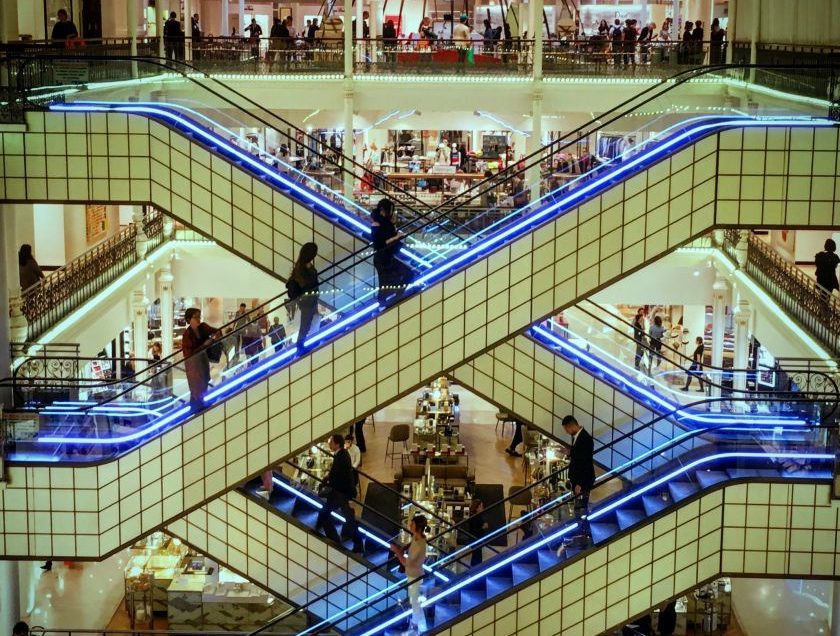 """This photo was taken in Paris in a superb department store which always seeks to decorate its escalators but this time I got to see them """"naked""""."""