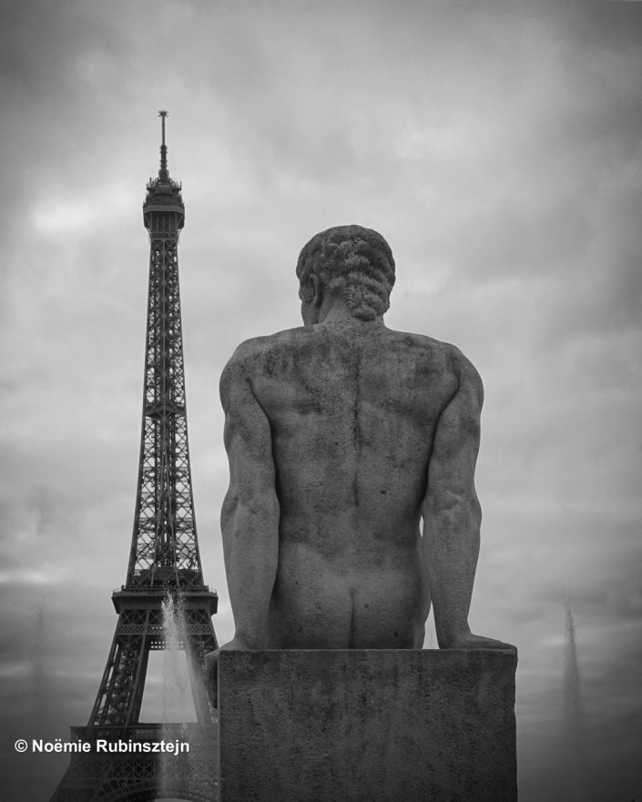 The photo was taken on assignment on the Eiffel Tower. I walked to the Trocadéro where I shot a picture of this statue and its Eighties haircut.