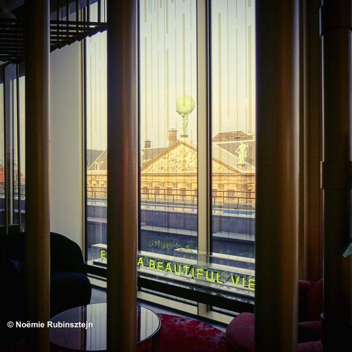 This photo was taken in Amsterdam in a hotel whose designers love to play with light and mirror reflections.