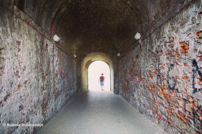 This photo was taken in Lucca, Italy, and features a passageway at Villa Pfanner.