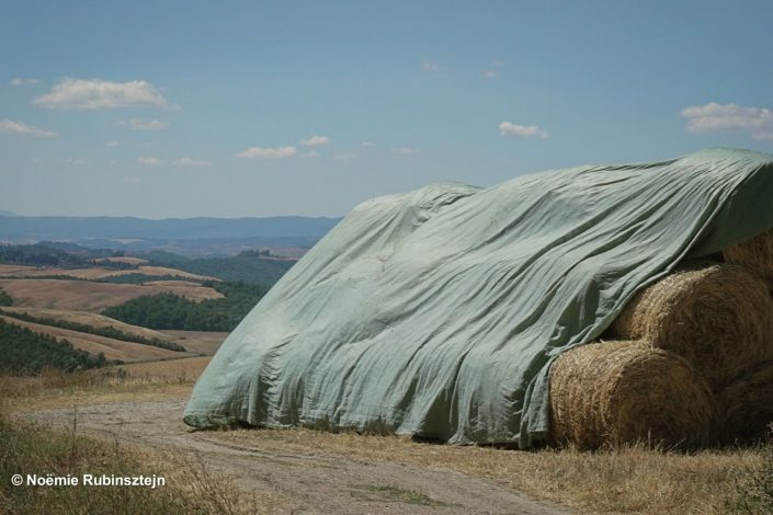 This photo was taken in Tuscany and features the beautiful scenery composed of hills and harvest.