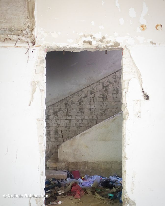 This photo was taken in Tel Aviv at a construction site and shows the Balagan of a staircase.