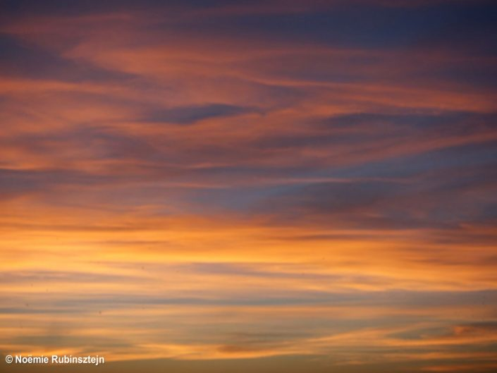 This photo was taken in Antwerp Belgium and features a colorful sky, which looks like a brush of paint.